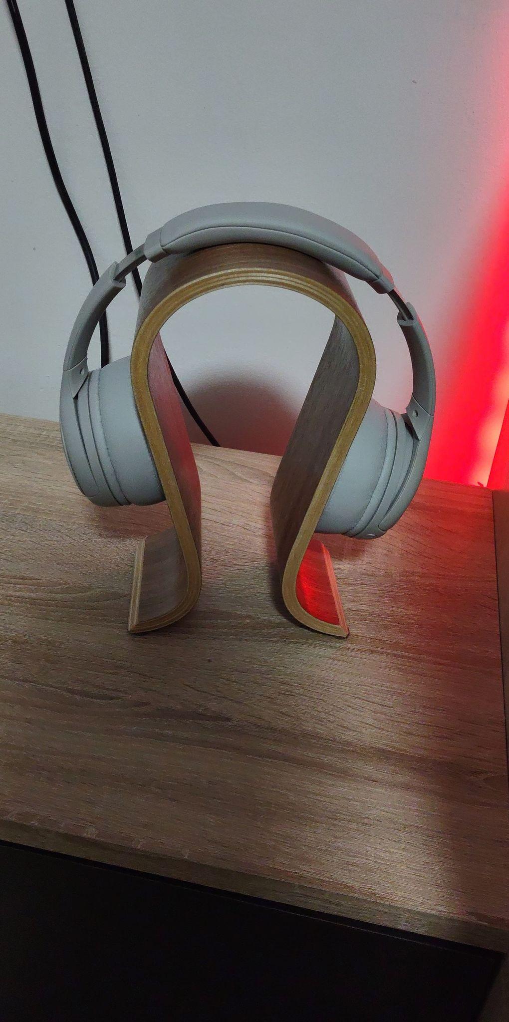 wooden headset holder