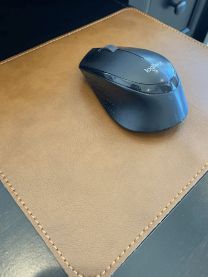 brown leather mouse mat